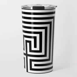 Cretan labyrinth in black and white Travel Mug