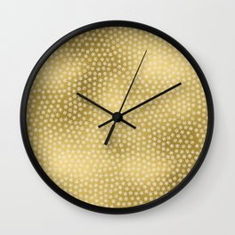 Merry christmas- white winter stars on gold pattern Wall Clock