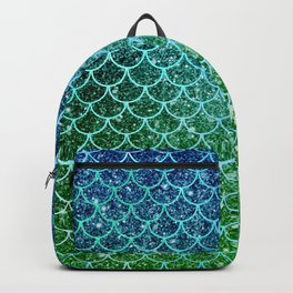 Mermaid Blue & Green Glitter Ombre Scales Backpack