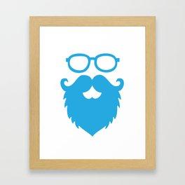 Hipster Beard Blue Framed Art Print