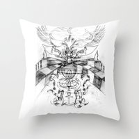 motorbike Throw Pillows featuring Motorbike. by sonigque