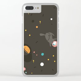 Space unicorn pattern Clear iPhone Case