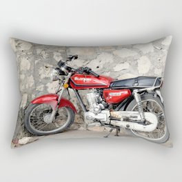 Motorbike red parked by the cement wall Rectangular Pillow
