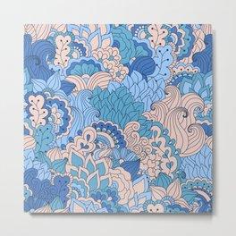 Floral pattern in cold tones Metal Print
