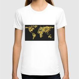 World Map Silhouette - Yellow Flower Pattern T-shirt