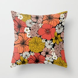 Big Retro Blooms Throw Pillow