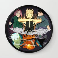 sasuke Wall Clocks featuring Team 7 On the Move by rendhy wahyu