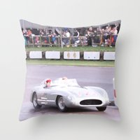 mercedes Throw Pillows featuring Mercedes Benz Silberpfeil with Stirling Moss by Premium