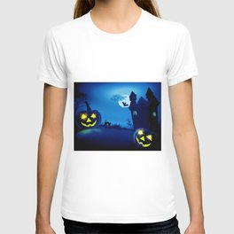 Background with pumpkins in Halloween party T-shirt