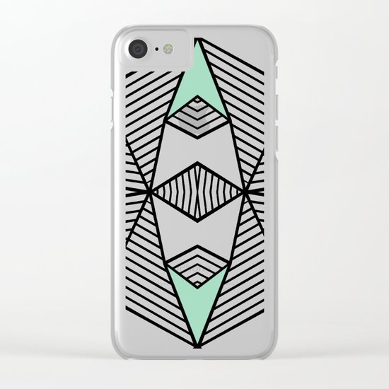 Triangle Tribal Mint Clear iPhone Case