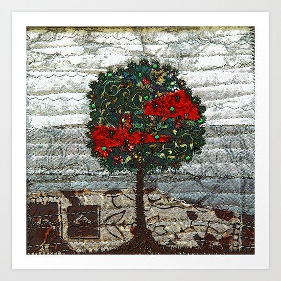 Green Tree on neutral Art Print