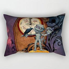 Funny mummy with skulls, crow and pumpkin Rectangular Pillow