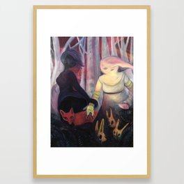 She dropped her rabbit guises and and followed her shadow into the forest Framed Art Print