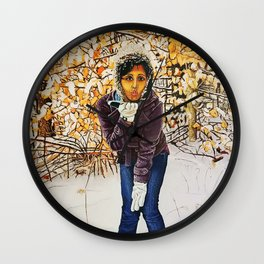 winter kiss Wall Clock