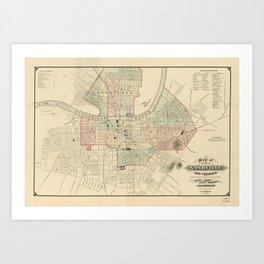 Vintage Map of Nashville Tennessee (1877) Art Print