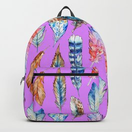 Hand painted pink blue violet bohemian feathers pattern Backpack