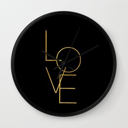 LOVE / black and gold Wall Clock