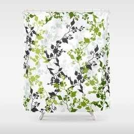 Branches and Leaves in Cobalt Grey and Green Shower Curtain