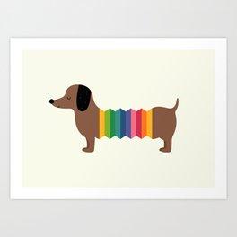 Rainbow Dooooog Art Print