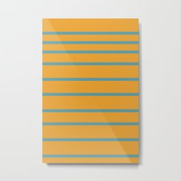 Variable Stripes Minimalist Mustard Orange and Turquoise Blue Metal Print
