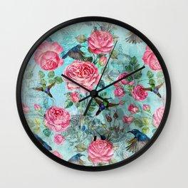 Vintage Watercolor hummingbird and English Roses on aqua Background Wall Clock
