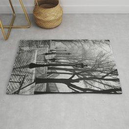 Sacre Coeur, Montmartre, Paris, France Stairs black and white photograph / black and white photography Rug
