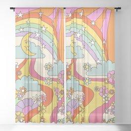 retro hippie boho print  Sheer Curtain