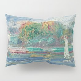 The Blue River Oil Painting by Auguste Renoir Pillow Sham