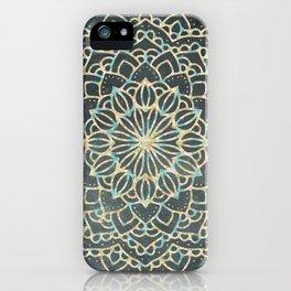 Sea Shimmer Mandala - Gold + Turquoise iPhone Case