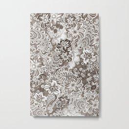 floral and paisleys monochrome Metal Print