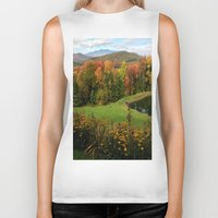 vermont Biker Tanks featuring Warren Vermont Foliage by Vermont Greetings