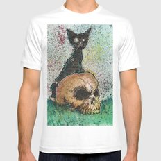 Black Cat with a Skull MEDIUM Mens Fitted Tee White