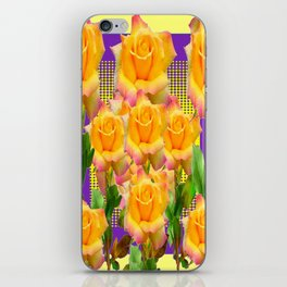 Purple Tinged Golden Yellow Garden Roses Green Art iPhone Skin