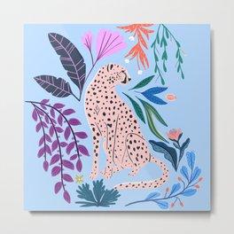 Blush pink Cheetah in jungle florals / jungle cat print /modern art Metal Print