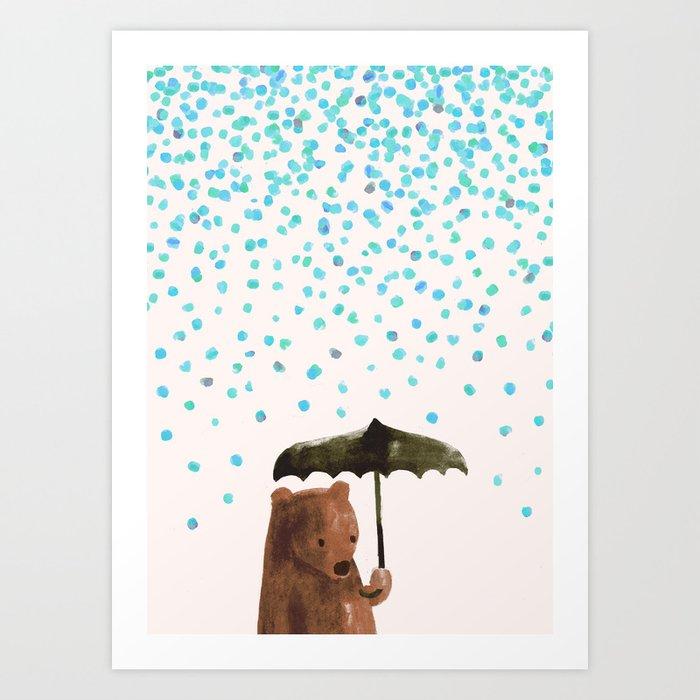 Sunday's Society6   Bear with umbrella in the rain art print