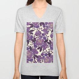 Elegant ivory gold lavender purple watercolor floral  Unisex V-Neck