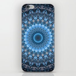 Digital mandala with light blue dominant. iPhone Skin
