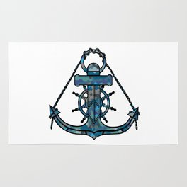 Anchor and Steering Helm [Multicolored 2] Rug