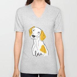Dog Modern Line Art Unisex V-Neck