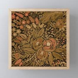 Watercolor .   Black brown floral pattern . Framed Mini Art Print