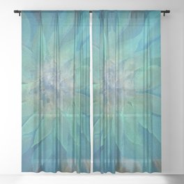 Darling Dahlia - Charcoal Blues Sheer Curtain
