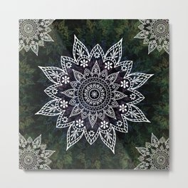 Rising Soul Mandala Design White Blue Green Metal Print