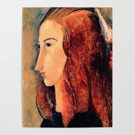 """Amedeo Modigliani """"Portrait of a young woman (Profile of Jeanne Hebuterne)"""" Poster"""