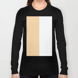 White and Sunset Orange Vertical Halves Long Sleeve T-shirt