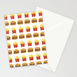 Burgers and Fries Pattern Stationery Cards