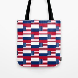 Mix of flag : Usa and russia Tote Bag