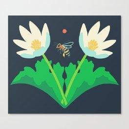 Honey Bee + Bloodroot Canvas Print