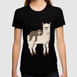 Sloth Riding Llama Adorable Fluffy Lama & Sloth T-shirt