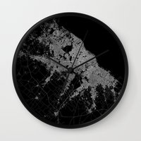 poland Wall Clocks featuring Warsaw map poland by Line Line Lines