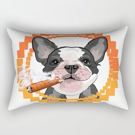 Cute dog head with a Cuban cigar Rectangular Pillow
